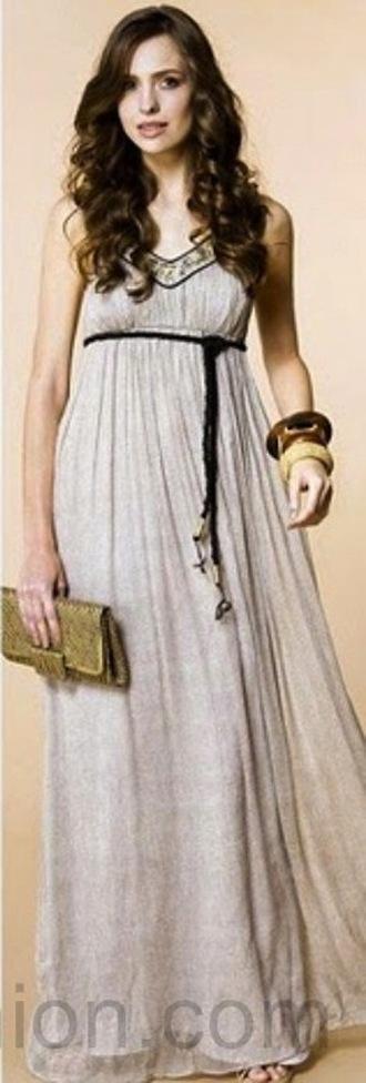 dress maxi dress long dress empire waist empire waist dress taupe dress v neck loose