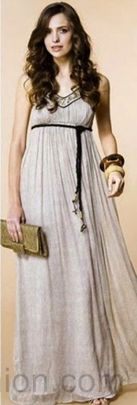 loose fit dress maxi dress long dress empire waist empire waist dress taupe dress v-neckline