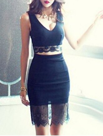 dress black lace trendy fashion sexy hot party dress two-piece skirt crop tops rosegal-jan