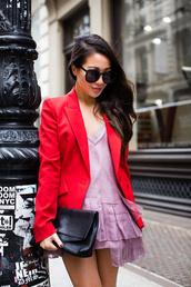 jacket,tumblr,blazer,red blazer,top,pink top,asymmetrical,asymmetrical top,sunglasses,bag,black bag