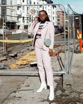 pants pink pants light pink blazer pink blazer top striped top sunglasses boots white boots