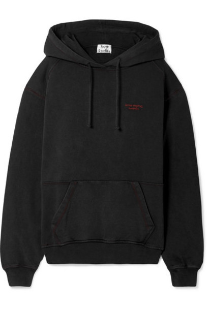 Acne Studios - Embroidered Cotton-jersey Hooded Top - Black