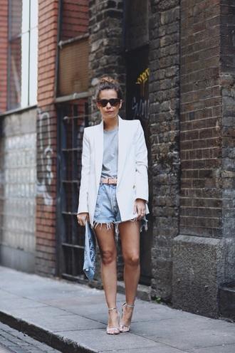 jacket blazer white white jacket denim style
