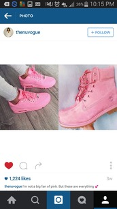 shoes,pink,pink timbs,timberlands,nike,pink nike,cute,girly,lace up boots