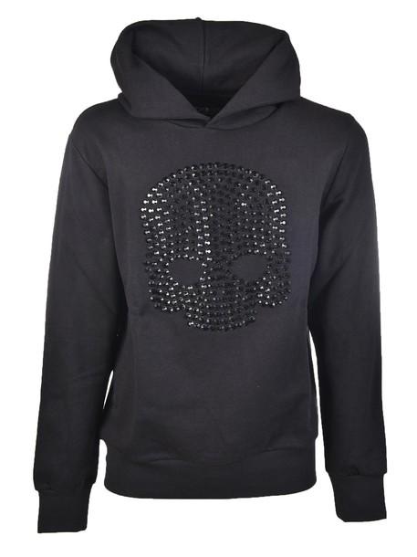 Hydrogen hoodie embellished black sweater