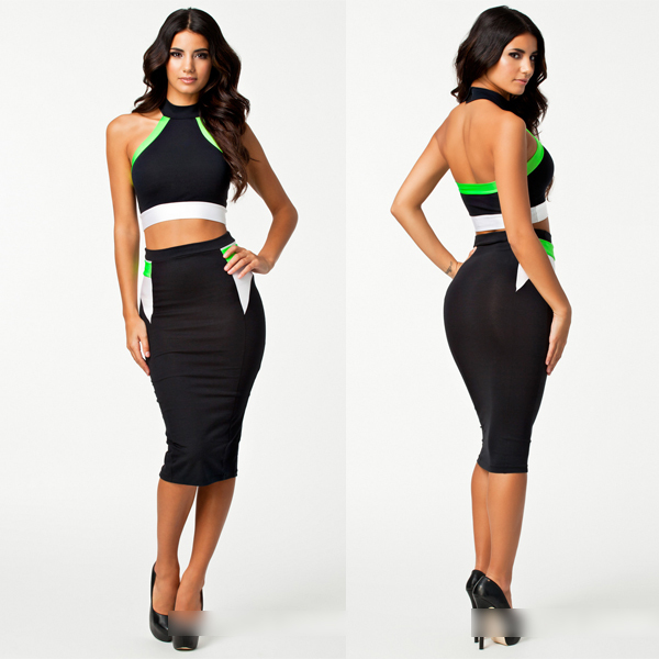 F0283 Latest Fashion Sexy Halter Fluorescent green Hit color Dress skirt Two piece dress Clubwear Sexy lingerie wholesale-in Dresses from Apparel & Accessories on Aliexpress.com