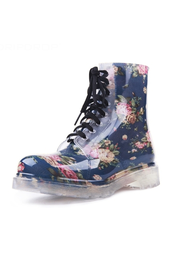 Flowers Print Lace-up Rain Boot [FABI1283]- US$ 47.99 - PersunMall.com