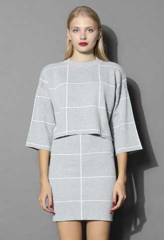 top grid print knitted crop top and skirt set in grey chicwish top and skirt set grey chic