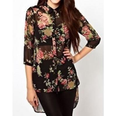 Black half sleeve floral dipped hem chiffon blouse