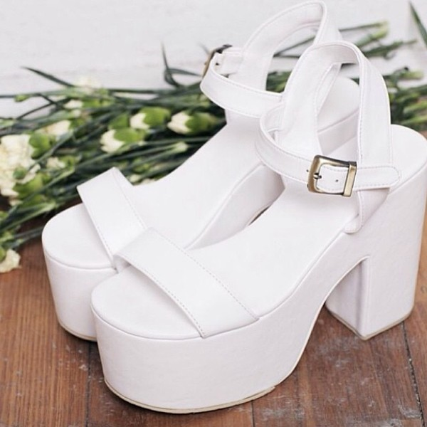 shoes platform shoes white platforms 70s style