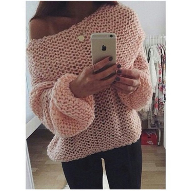 sweater knitted sweater oversized sweater oversized sweater pink sweater jewelry accessories accessories leggings trending dress trendy trendy blogger popular sweater fashion inspo fashion inspo chill casual skirt stylish style style on point clothing