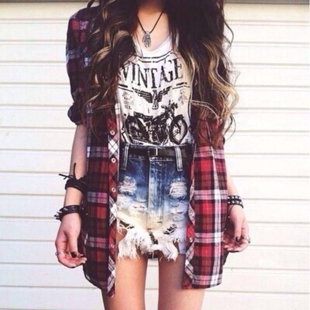 Shorts: ripped shorts, t-shirt, jacket, blouse, jewels ...