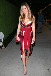 dress,stripes,wrap dress,celebrity,heidi klum,sandals,sandal heels,sequins,sequin dress