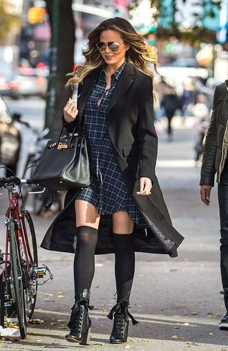 dress boots coat fall outfits chrissy teigen shoes