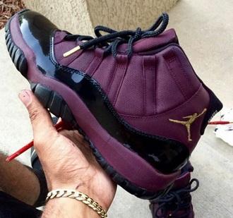 shoes jordans air jordan bred 11s burgundy jordan's jodan maroon 11 purple high top sneakers trainers custom shoes purple sneakers maroon shoes