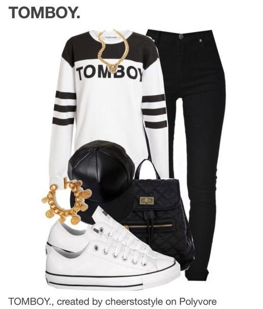 shirt t-shirt tomboy white black