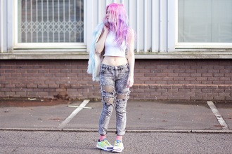 kayla hadlington blogger coat soft grunge ripped jeans white crop tops top jeans