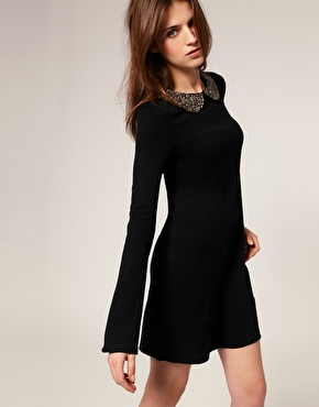Warehouse encrusted peter pan collar dress at asos