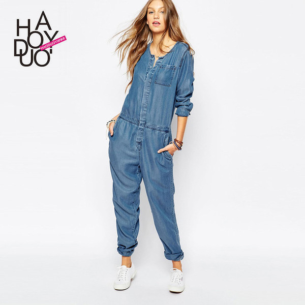 Haoduoyi vintage Sexy Stretch Long sleeve denim loose romper pants ...