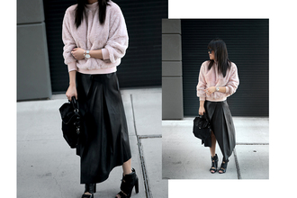 theversastyle blogger shoes top sweater skirt t-shirt jeans bag midi skirt handbag ankle boots black skirt spring outfits