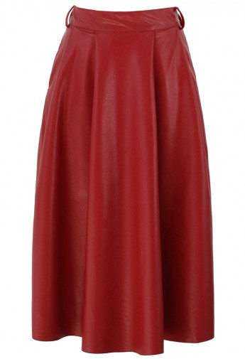 Faux Leather A-Line Midi Skirt in Red - Retro, Indie and Unique Fashion