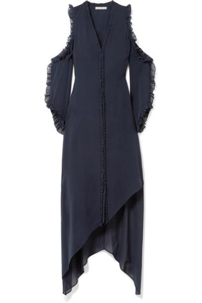 alice + olivia dress midi dress chiffon midi cold blue silk
