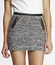 ZIPPERED MARLED BOUCLE MINI SKIRT | Express