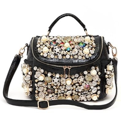 Amazon.com: Spiked Rivets Colorful Rhinestones Embellished Shoulder Bag Handbag: Shoes