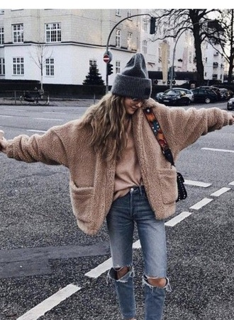 jacket fluffy soft cardigan brown trendy