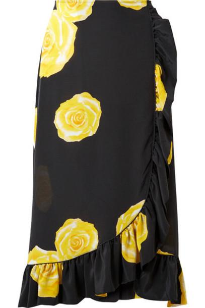 Ganni skirt midi skirt midi floral print black silk