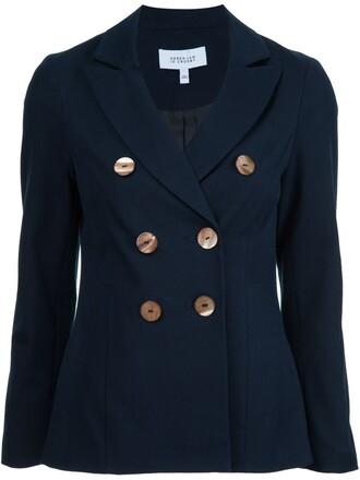 blazer double breasted women cotton blue jacket