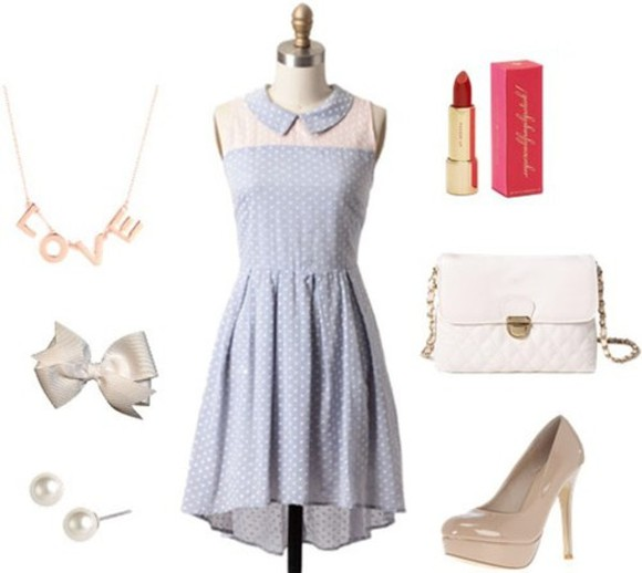 dress cute dress pearls polka dots dress redlipstick beige high heels bows