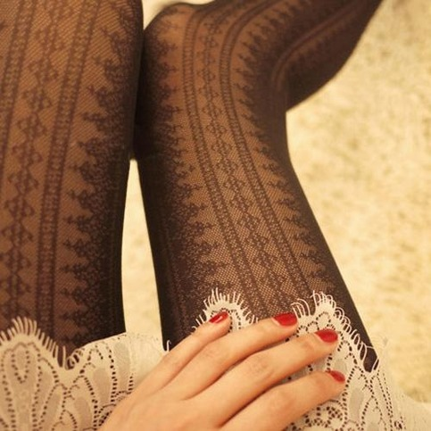 Retro stripe lace stocking in black from doublelw on storenvy