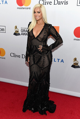 dress bebe rexha black dress maxi dress red carpet dress plunge dress gown prom dress grammys