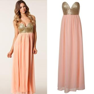 dress peach maxi sequin sequin maxi maxi dress spring dress sequin bustier