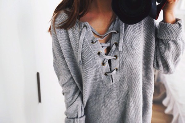 sweater grey lace up top lace up jumper grey sweater blouse divine 2016 actually