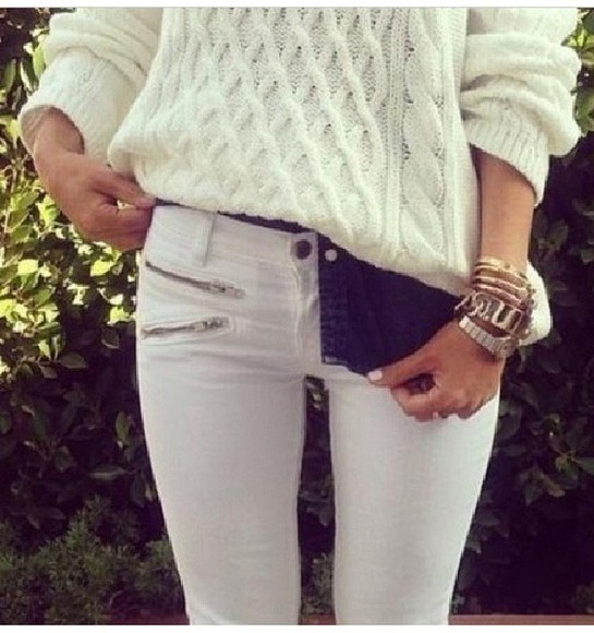 sweater wool jeans white slim fitted white jumper hot