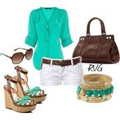 blouse,aqua,white shorts,sunglasses,wedges,bracelets,shoes,pants,brown belt,blue shirt,brown purse,blue,brown heels,chiffon blouse,chiffon
