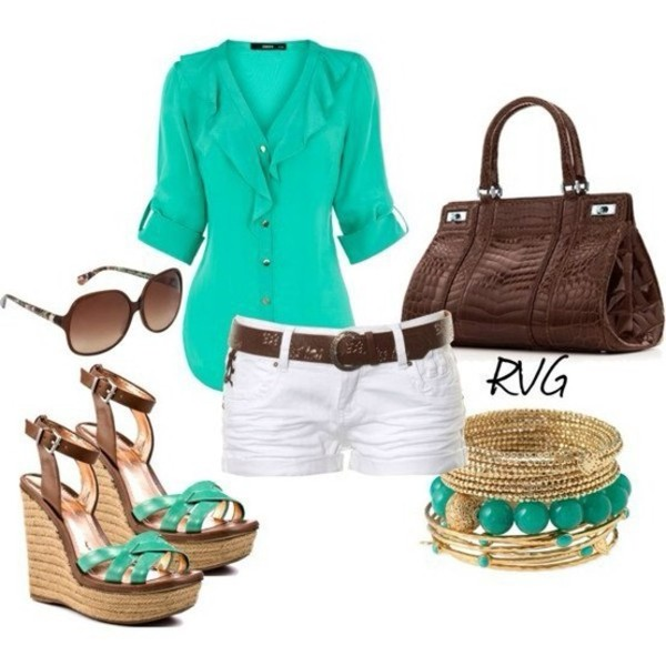 bag jewels blouse shoes shorts aqua white shorts sunglasses wedges bracelets cute high heels pants brown belt blue shirt brown purse blue brown heels chiffon blouse chiffon top