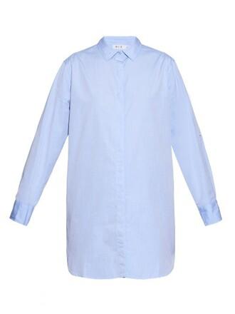 shirt oversized cotton blue top