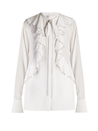 blouse pearl embellished white top