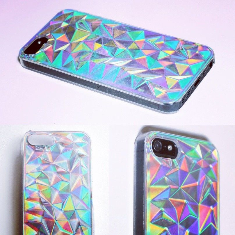 iPhone 5 5S Holographic Hologram Iridescent 3D Diamond Triangle Case Cover New   eBay