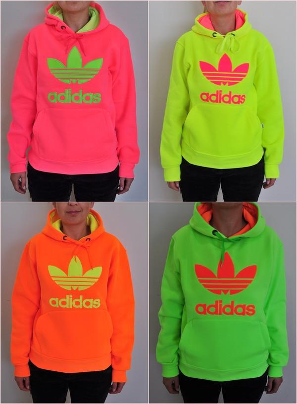 Adidas Trefoil Women Neon Sweatshirt Hoodie - Neon Pink -:Amazon ...