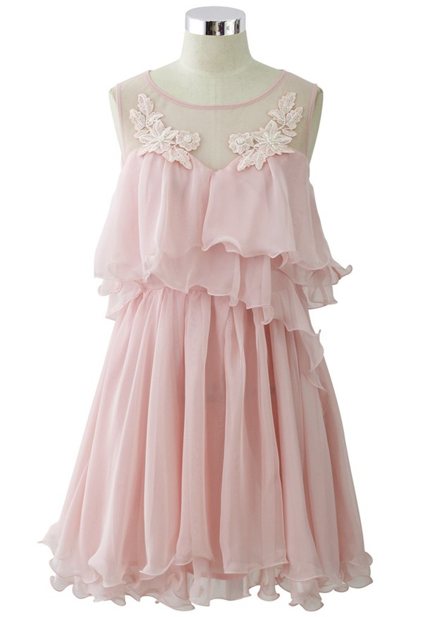 chicwish pixie embroidered frilling dress