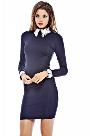 Lace Collar Bodycon Dress - AX Paris