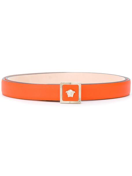 Versace - Medusa buckle belt - women - Leather - 105, Yellow/Orange, Leather