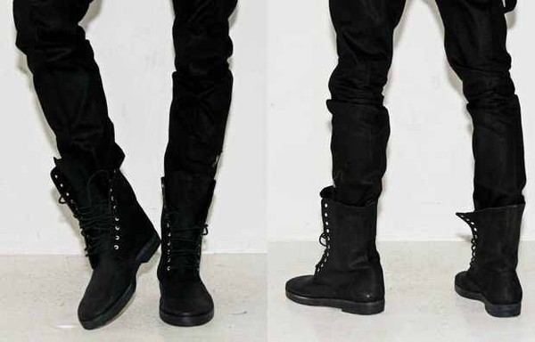Retro Combat boots Winter punk-style fashionable Men's short Black ...