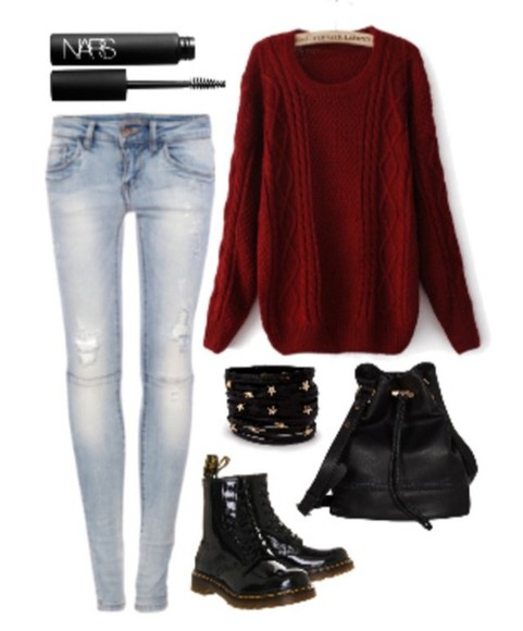 braclets sweater knitted sweater bag skinny jeans combat boots