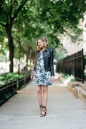 see jane,blogger,dress,jacket,floral dress,black leather jacket,leather jacket,sandals,sandal heels,high heel sandals,black sandals,mini dress,spring outfits