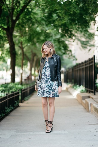 see jane blogger dress jacket floral dress black leather jacket leather jacket sandals sandal heels high heel sandals black sandals mini dress spring outfits
